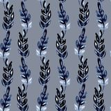 Illustration watercolor seamless pattern of indigo leaves in the form of vertical stripes waves on a gray background vector illustration