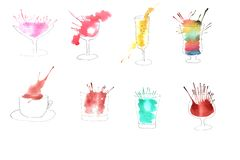 Illustration of watercolor drinks stock image