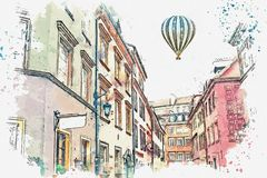 Illustration or watercolor sketch. Traditional architecture in in Warsaw, Poland. A watercolor sketch or illustration of a traditional street with apartment stock illustration