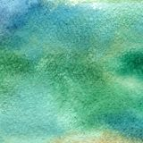 Illustration of a watercolor texture of blue and green colors. Watercolor abstract background, blots, blur, fill, print, spray, ru Stock Images