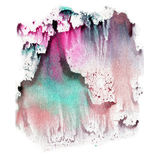 Illustration watercolor texture of transparent blue, brown, pink and gray colors. Watercolor abstract background, spots, blur, fil Stock Photo