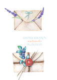 Illustration with watercolor vintage mail envelopes and flowers Stock Photos