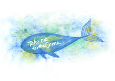 Illustration of watercolor whale. Blue Whale Illustration under the water. Watercolor whale. illustration of watercolor whale Royalty Free Stock Image