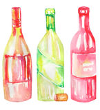 An illustration of the watercolor wine bottles. Painted hand-drawn in a watercolor on a white background. Stock Image