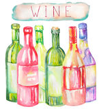 An illustration of the watercolor wine bottles. Painted hand-drawn in a watercolor on a white background. An illustration of the  watercolor wine bottles Stock Images