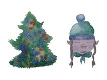 Illustration watercolor winter characters and Merry Christmas vector illustration