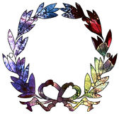 Illustration of watercolor wreath with bow. Stock Photography