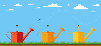 Illustration of watering cans. Stock Photography