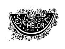 Illustration Of Watermelon And Hand Drawn Lettering. Royalty Free Stock Images