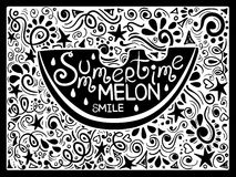 Illustration Of Watermelon And Hand Drawn Lettering. Stock Photography