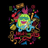 Illustration watermelon tshirt design. Tshirt design of watermelon dancing and jamming with electric guitar Royalty Free Stock Image