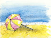 At the beach. An illustration with watersoluble ink pencils, showing a beach with one umbrella Royalty Free Stock Photo
