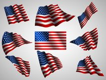 Illustration of waving USA flag, isolated flag icon. Vector set stock illustration