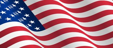 Illustration of waving USA flag. Waving flag of the United States of America, American for Independence Day Stock Images