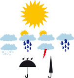 Illustration of weather icons Stock Images