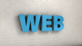 Illustration of WEB word on the wall, business concept. 3d illustration of WEB word on the wall, business concept Stock Image