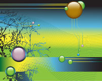 Illustration for websites. Abstract vector illustration with banner and colored spheres for websites Stock Photos