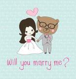 Illustration of wedding invitation Stock Photos