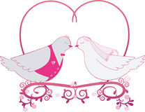 Illustration wedding pigeons and heart. Icon or card of doves Stock Photos