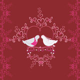 Illustration of wedding pigeons and heart. Seamless texture or card of dove Stock Image