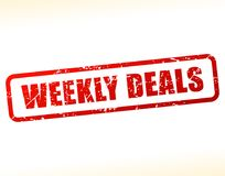 Weekly deals text buffered. Illustration of weekly deals text buffered on white background Stock Photos