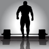 The illustration Weightlifter with barbell. The silhouette of Weightlifter with barbell Stock Image