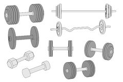 Illustration of weights set Royalty Free Stock Photos