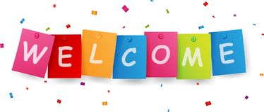 Welcome sign with confetti Stock Photos