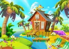 Illustration: Wenig Kabine auf der Insel lizenzfreie abbildung
