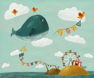 Illustration with whale vector illustration