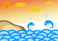 Illustration whale jumping near the island in the sea Royalty Free Stock Photo