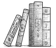 Books in a row illustration, drawing, engraving, ink, line art, vector stock illustration