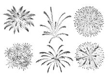 Firework illustration, drawing, engraving, ink, line art, vector. Illustration, what made by ink and pencil on paper, then it was digitalized stock illustration