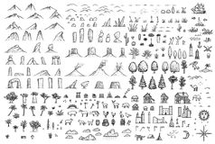 Fantasy map elements illustration, drawing, engraving, ink, line art, vector. Illustration, what made by ink, then it was digitalized stock illustration