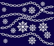 Illustration of the wheel with Chain. And Blue Background Royalty Free Stock Photos