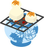 The illustration which is usable in the letter of New Years greetings (Baked rice cake) Stock Photography