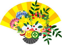 The illustration which is usable in the letter of New Year's greetings (Fan) Royalty Free Stock Image
