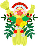 The illustration which is usable in the letter of New Year's greetings (New Year festoon made of sacred straw) Stock Images