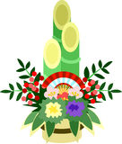 The illustration which is usable in the letter of New Year's greetings (New Year's pine and bamboo decorations) Royalty Free Stock Photo