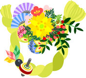 The illustration which is usable in the letter of New Year's greetings (Wreath) Stock Photos