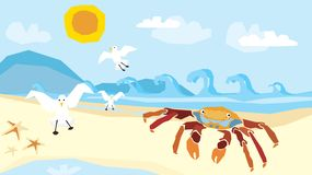 Illustration-whimsical beach Royalty Free Stock Photography