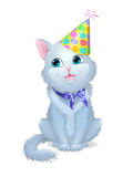 Illustration on white background cat in birthday cap with a bow. Royalty Free Stock Images
