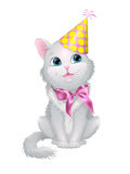Illustration on white background cat in birthday cap with a bow. Illustration on white background depicting a seated cat in a pink bow with a birthday cap on Royalty Free Stock Photos