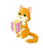 Illustration on white background of a cats, which holds the box box with a gift. Royalty Free Stock Photography