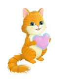 Illustration on white background cats, which keeps heart. Royalty Free Stock Images