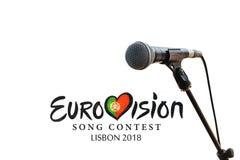 Illustration on white background Eurovision Song Contest 2018 Lisbon royalty free stock photos