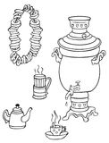 Samovar, tea and bagels. Illustration on white background samovar, cups of tea and bagels on a rope Stock Image