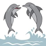 Dolphins jumped out of water. Illustration on white background, two dolphins jumped out of the water Stock Images