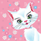 Illustration of a white cat on a pink background.  Stock Image