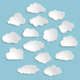 Illustration of white clouds collection on the blue backg Royalty Free Stock Image